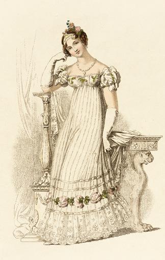 Illustration: Brautkleid im Empirestil