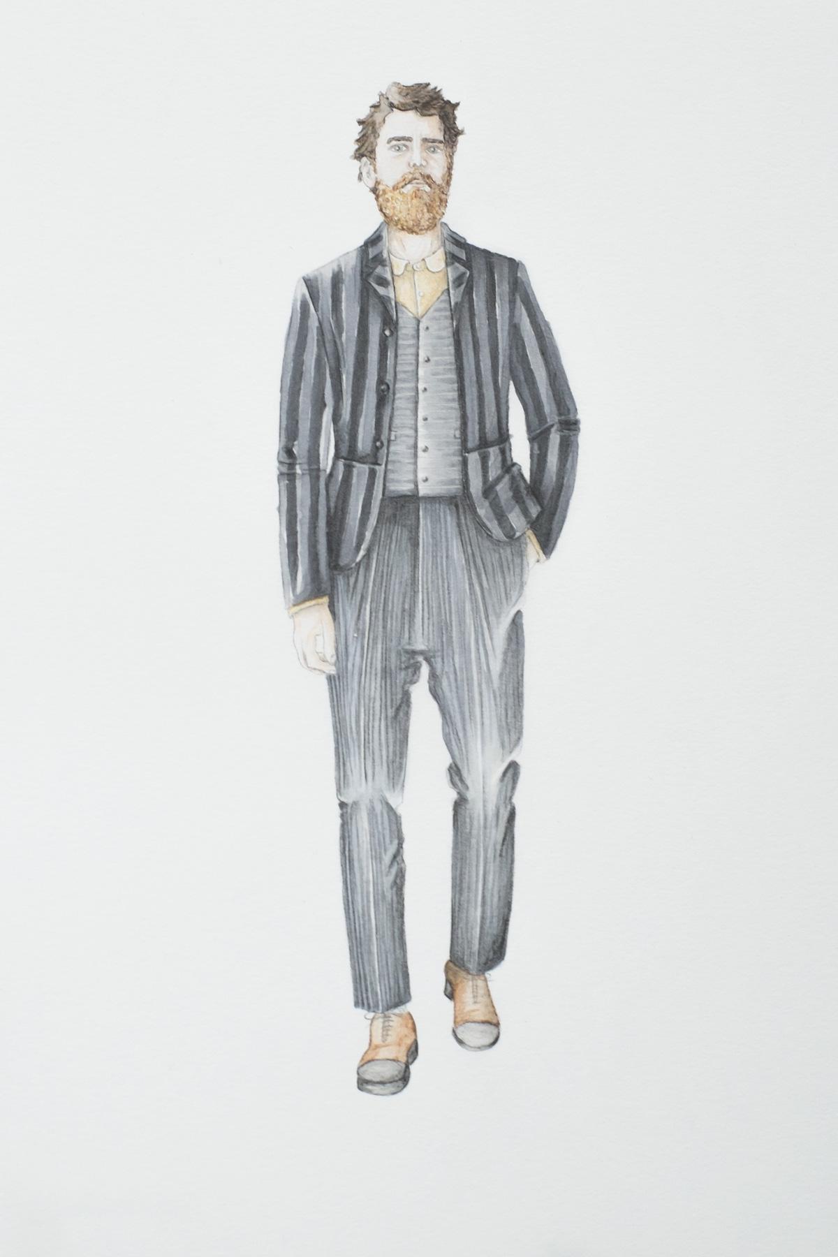 Modeillustration schwarzer Anzug mit grauen Streifen
