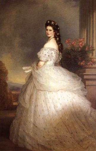 Kaiserin Elisabeth von Österreich in einem Kleid von Worth